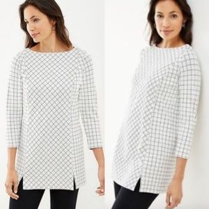 J. Jill Windowpane Ponte Knit cream/black tunic